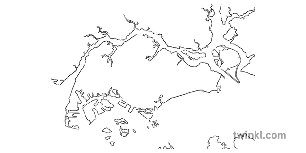Map of Singapore No Text Geography KS2 Black and White RGB