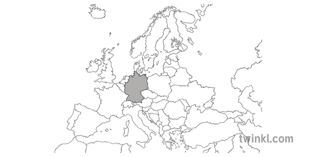 Map of Europe with Germany Highlighted Map Geography HAAS
