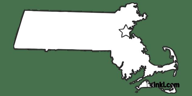 Massachusetts Outline USA State Map Boston Capital KS1