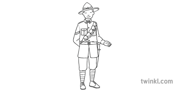 New Zealand Anzac Without Gun KS1 Black and White RGB
