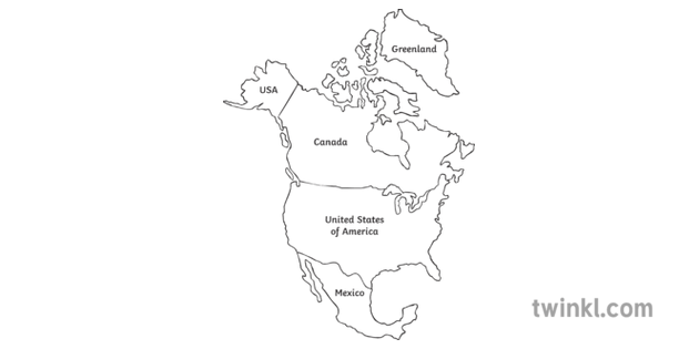 North America Map Continent World Geography Secondary Bw