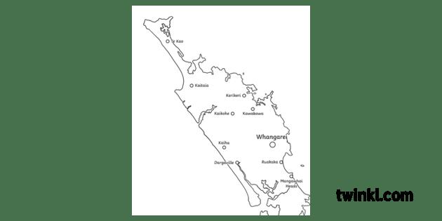 Northland Region Close Up Map Geography New Zealand KS2