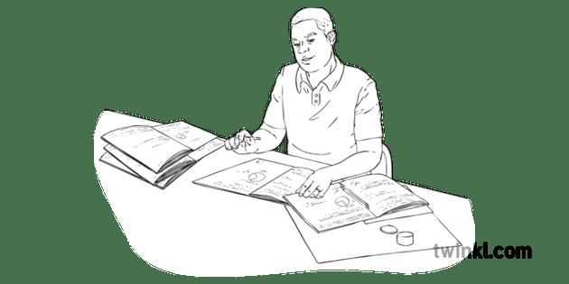 Organised Marking Teacher Work School Desk Mental