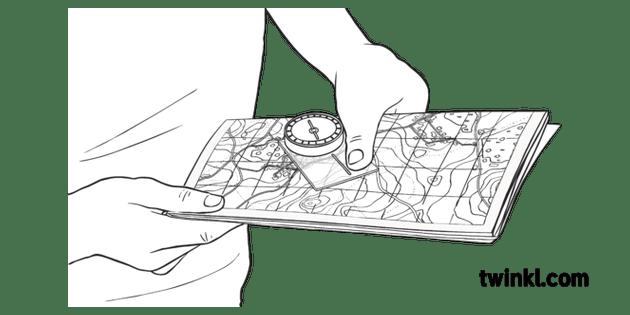 Orienteering Map Compass Y3 OAA Twinkl Move PE KS2 Black