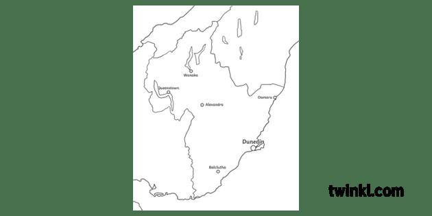 Otago Region Close Up Map Geography New Zealand KS2 Black