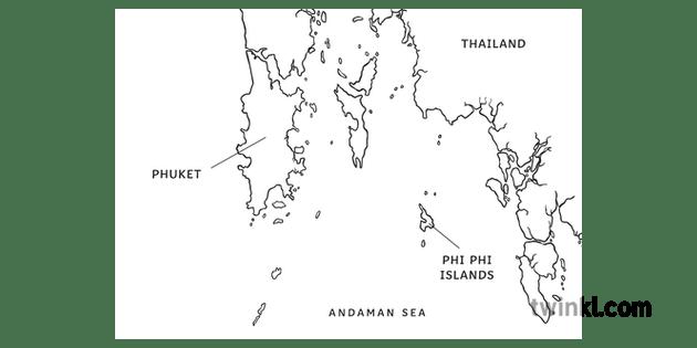 Phuket and Phi Phi Islands Map Geography KS2 Black and