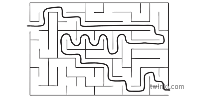 Rectangle Maze 2 Answer Puzzel EYFS KS1 Black and White