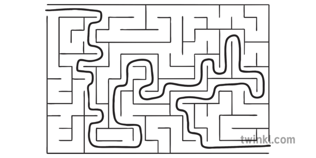 Rectangle Maze 5 Answer Puzzel EYFS KS1 Black and White