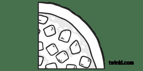 Round Ham Pizza Quarter Slice 2 Topics Fractions KS1 Black and White