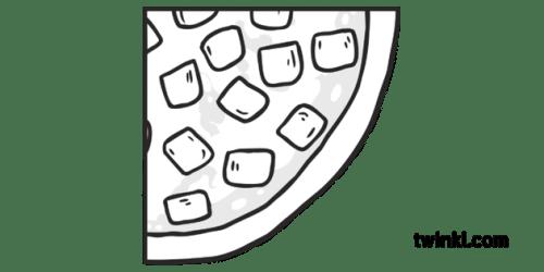 Round Ham Pizza Quarter Slice 4 Topics Fractions KS1 Black and White