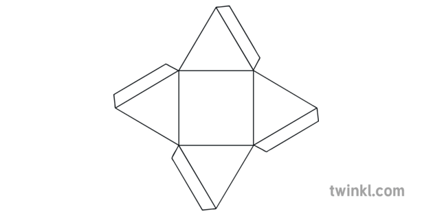 Square Based Pyramid 3D Shape Nets Craft Activity Updated