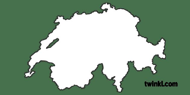 Switzerland Country Border Shape European Country Map KS1