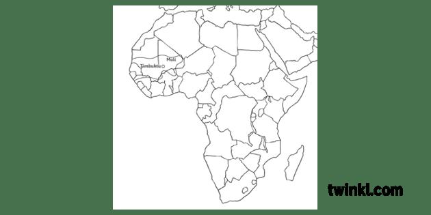 Timbuktu Map Location Map Africa Mali MPS KS2 B and W RGB