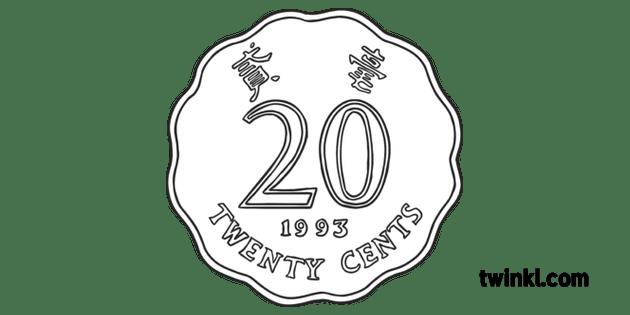 Twenty Cents Hong Kong Coin Currency Money KS1 Black and