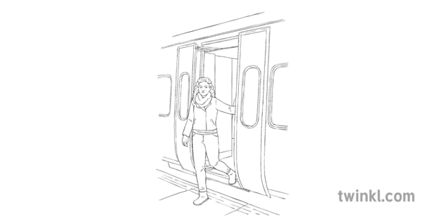 Woman Getting Off Train Tube Transport Journey Vehicle KS2