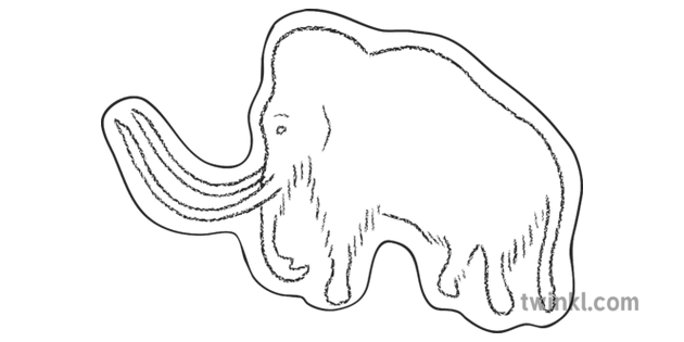 Woolly Mammoth Cave Painting Cutout Example Prehistoric