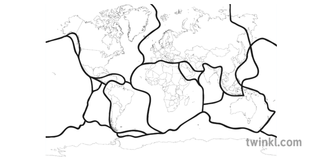 World Map With Tectonic Plates Black and White