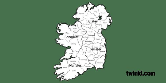 Karte Von Irland Zeigt Grafschaften Schwarz Und Weiß