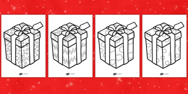 Free Patterned Presents Colouring Sheets Teacher Made
