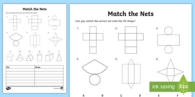 Match The 3d Shape Nets Worksheet