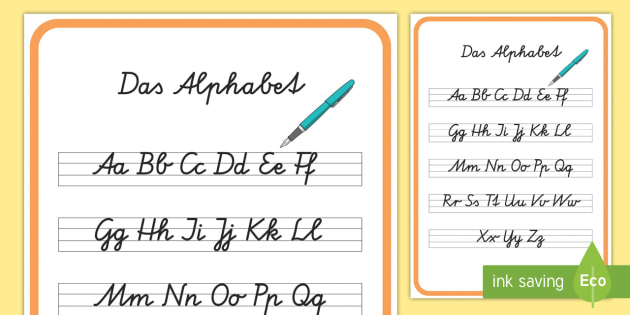 das alphabet in schreibschrift poster