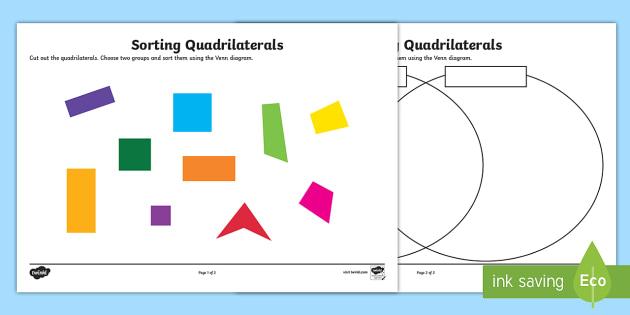 venn diagram sorting shapes rcd spur wiring quadrilaterals worksheet sort activity