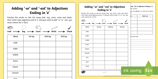 Year 2 Spelling Practice Adding 'er' And 'est' To Adjectives Ending In 'e