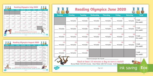 summer reading olympics calendars