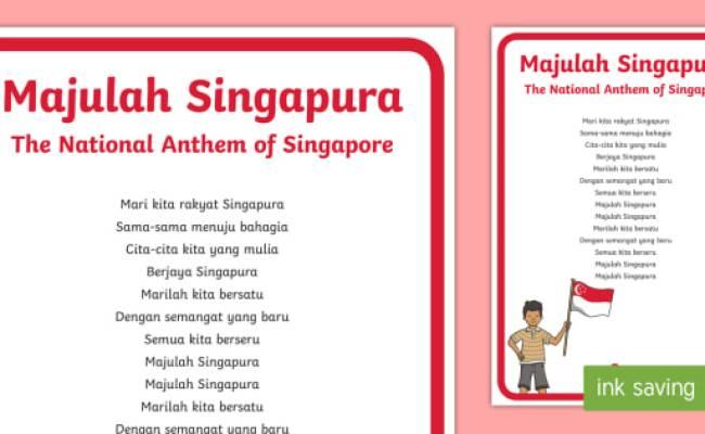 The National Anthem Of Singapore Malay Song Lyrics