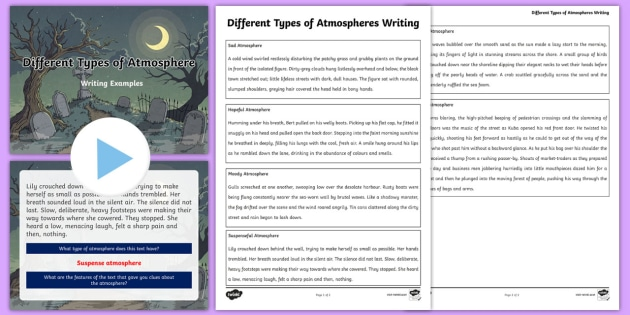 Different Atmosphere Writing Examples Worksheet And Powerpoint