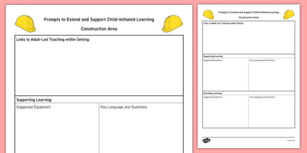 Construction Area Adult Support Prompt Sheet Template - EYFS