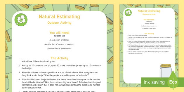 Natural Estimating Jars Outdoor Activity Teacher Made