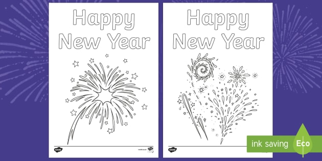 New Years Fireworks Ks1 Colouring Pages Teacher Made