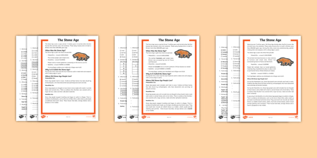 * New * Lks2 The Stone Age Differentiated Reading Comprehension