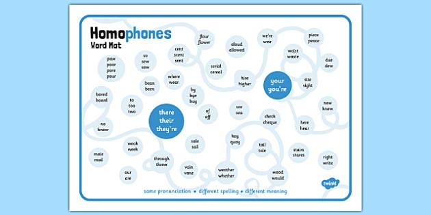 Homophones Word Mat Homophone Example Word Word Mat