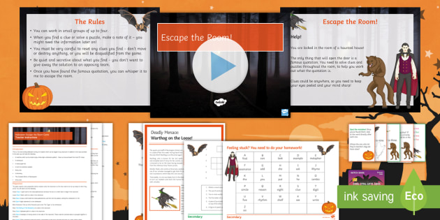 Halloween Secondary Resources: Halloween English Escape the Room Game