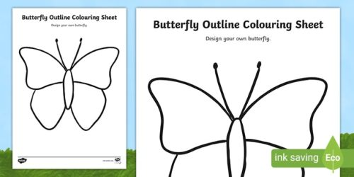 👉 Butterfly Outline Coloring Sheet teacher made