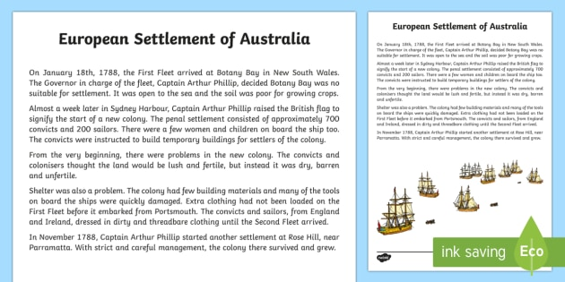 European Settlement Of Australia Historical Factual
