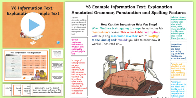 Writing Teaching Diagrams Y6 Information Texts Explanation Model Example Text