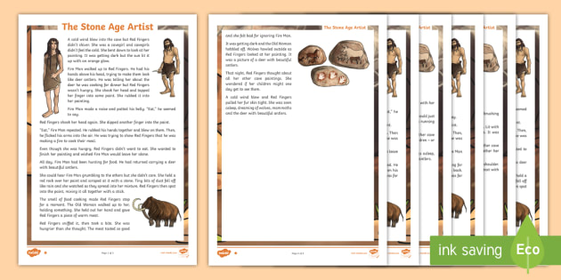 * New * Lks2 The Stone Age Artist Differentiated Reading Comprehension