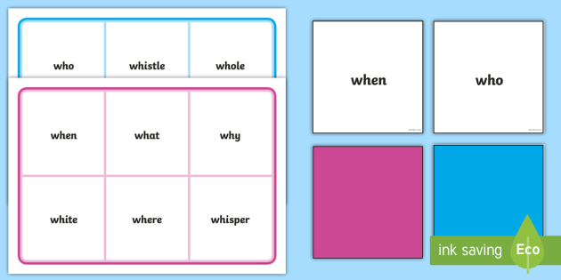 * New * Phase 5 'wh' Words Bingo  Wh, Phoneme, Silent H, Silent