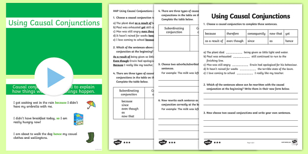 Causal Conjunctions Powerpoint Pack