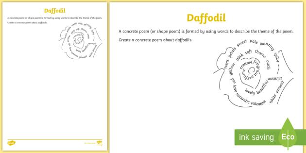 * New * Daffodil Concrete Poem Activity