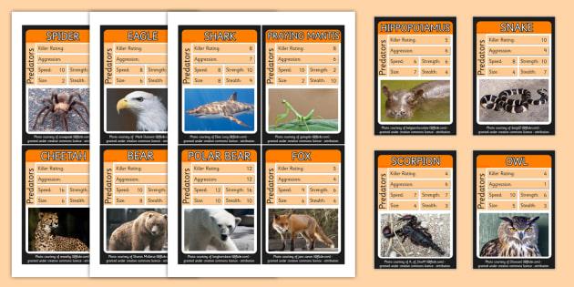 Predator Card Game Predator Top Trump Cards Game