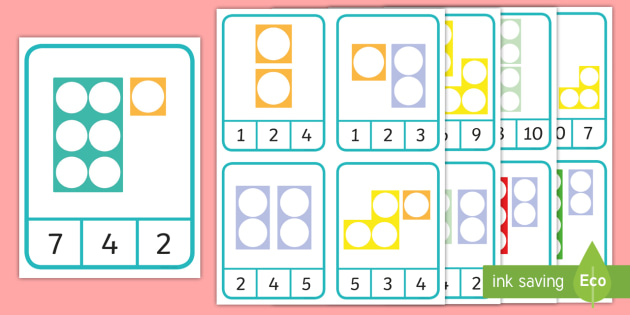 * New * Number Shape Number Addition To 10 Peg Matching Game
