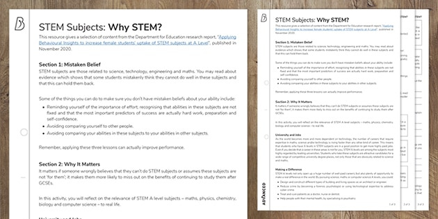 STEM Subjects: Why STEM?