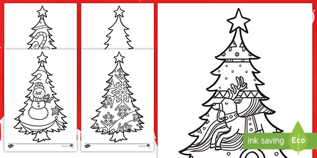 Large Christmas Tree Colouring Pages Teacher Made