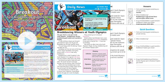 * New * Lks2 Youth Olympics Daily News Resource Pack  Youth