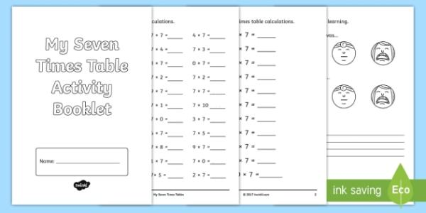 seven times table activity booklet