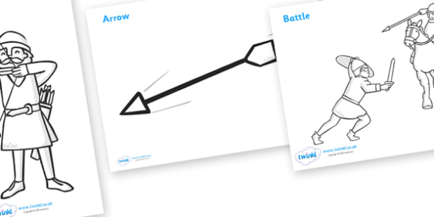 The Battle of Hastings Story Colouring Sheets (teacher made)